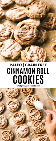 These paleo and gluten free cinnamon roll cookies are soft and chewy, drizzled with coconut butter icing. These are perfect any time of the year, but especially during the holidays! #christmascookies #nutfree #paleo #paleocookies #paleobaking #christmasdessert #grainfreedessert