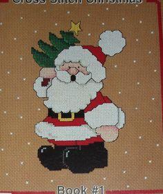 HOLLY JOLLY SANTAS + SHEEP +SKIING SANTA CHRISTMAS CROSS STITCH PATTERN