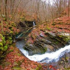 Water rushes with pounding force through a deeply eroded gash in Bear Creek Canyon, in north central Arkansas.