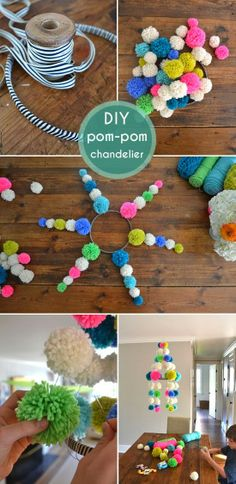 Here you can find creative pom poms ideas to add a little whimsy to your life! Easy tutorial on how to make your very own pom pom! Kids Crafts, Diy And Crafts, Arts And Crafts, Pom Pom Crafts, Yarn Crafts, Diy Projects To Try, Craft Projects, Diy Chandelier, Crafty Craft