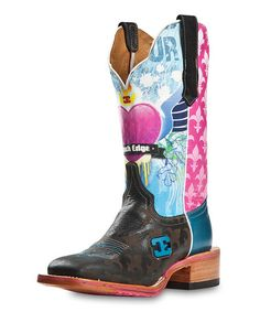 This Boston Black & Pink Heart Leather Cowboy Boot - Women by CINCH is perfect! #zulilyfinds $214!