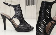 Madden Girl Laser Cut Peep Toe Shoe Ankle Bootie Slim High Heels Sz 7 Black NEW #MaddenGirl #OpenToe #SpecialOccasion