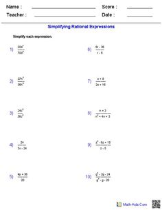 Printables Simplifying Rational Expressions Worksheet worksheets on pinterest simplifying rational expressions worksheets