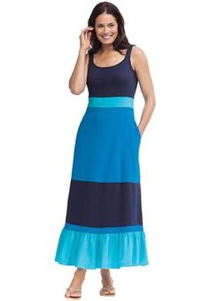 Dress, colorblocked tiered maxi | Plus Size Casual Dresses | Woman Within