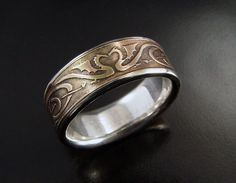 Man's Dragon Heart Wedding Ring - Silver & Bronze - Etched Wedding Ring with Celtic Style Dragon Design - Unique Wedding Ring for a Man