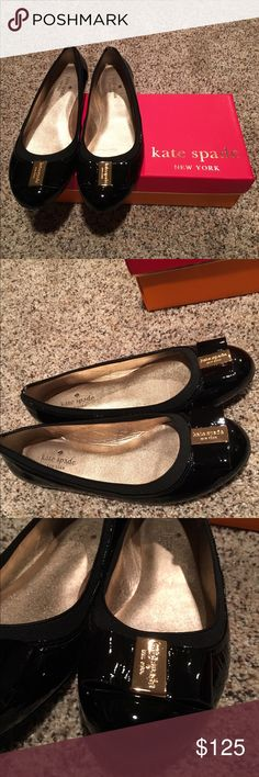 Kate Spade New York Tock Ballet Flats Patent leather Kate Spade New York ballet flats have timeless appeal. A logo-accented bow details the round toe, and a tonal elastic top line offers a comfortable fit. Padded footbed and rubber sole. kate spade Shoes Flats & Loafers