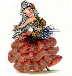 Shop Vintage Spanish Flamenco Dancer traditional dress Postcard created by SayHello. Vintage Greeting Cards, Vintage Postcards, Vintage Pictures, Vintage Images, Spanish Costume, Spanish Girls, Spanish Art, Flamenco Dancers, Girls Dress Up