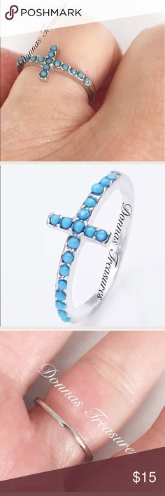 ♀️Aqua & Silver Cross Ring This ring is made of small plastic aqua beads securely set in nickel free silver alloy with a silver plating. A beautiful statement piece! #0919 Jewelry Rings
