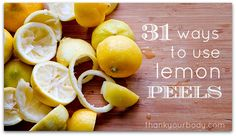 Don't throw your lemon peels away! Here are 31 ways to use them! Did you know that lemon peels are nutritional power houses? Lemon Peels contain a spectrum of vitamins, Home Remedies, Natural Remedies, Health And Wellness, Health And Beauty, Simply Health, Fru Fru, Natural Cleaning Products, Natural Products, Natural Soaps