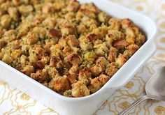 When I was growing up, we always had stuffing and dressing on our Thanksgiving table. Same recipe, but two completely different dishes... Thanksgiving Stuffing, Thanksgiving Sides, Thanksgiving Recipes, Holiday Recipes, Happy Thanksgiving, Holiday Meals, Fall Recipes, Sweet Cornbread, Cornbread Stuffing