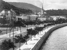 Praia de Botafogo, início do século XX, observem os casarões e a torre da Igreja da Imaculada Conceição.