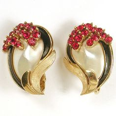 Trifari 'Alfred Philippe' Pearl Rubies and Black Enamel Marine Swirl Clip Earrings
