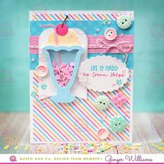 Queen and Company Sweet Shop Shaker Card Kit. Queen and Company Sweet Shop Shaker Card Kit. Birthday Scrapbook, Birthday Cards, Card Kit, I Card, Milkshake, Jars Of Sweets, Baby Mini Album, Paper Crafts, Diy Crafts