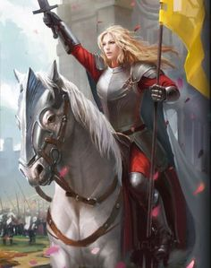 f Paladin Plate Armor Sword Banner Horseback Castle road farmland heroes of camelot cards Fantasy Warrior, Fantasy Girl, Fantasy Women, Fantasy Rpg, Medieval Fantasy, Fantasy Artwork, Female Armor, Female Knight, Lady Knight