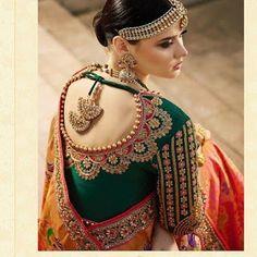 35 Traditional blouse back neck designs for silk sarees - Blouse designs Blouse Back Neck Designs, Wedding Saree Blouse Designs, Pattu Saree Blouse Designs, Hand Work Blouse Design, Silk Saree Blouse Designs, Stylish Blouse Design, Fancy Blouse Designs, Silk Sarees, Sari Design
