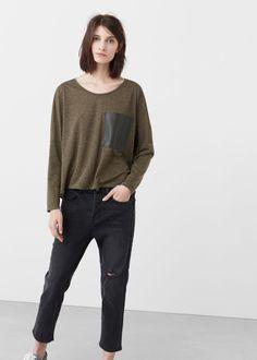 Camiseta bolsillo contraste | MANGO