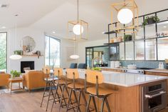 """Home Remodeling Fixer Upper After: A new island and modern design open up the kitchen and living room. - Joanna Gaines is pregnant with baby No. But the latest """"Fixer Upper"""" episode reveals that's not the only family addition coming to Waco, TX. Layout Design, Küchen Design, Retro Design, Interior Design, Fixer Upper Kitchen, Open Plan Kitchen, Living Room Remodel, Kitchen Remodel, Fixer Upper Joanna"""
