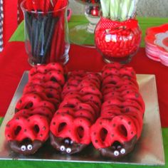 """Ladybug"" Chocolate Covered Pretzels :: Perfect for a ladybug themed child's birthday party!"