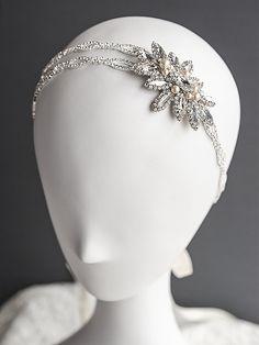 Crystal Bridal Hair Accessories, Swarovski Pearl Wedding Headband, Art Deco Flower Leaf Rhinestine Bridal Headband, Wedding Hairband, JOSLYN on Etsy, $115.00