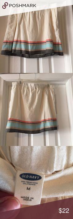 Linen Stripe Skirt BNWOT Cream colored linen skirt with colorful stripe detail on bottom Old Navy Skirts