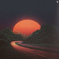 vaporwave sunset Now the grid is being used in vapor wave to hearken back to the aesthetic. New Retro Wave, Retro Waves, Cyberpunk Aesthetic, 80s Aesthetic, Retro Kunst, Retro Art, Vaporwave Art, Grunge, Aesthetic Wallpapers