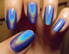 China Glaze 2NITE - a dusty medium blue holographic polish. Click the image for more!