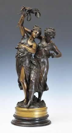 "Two Classical Figures with Tambourine 29"" high overall with bronze and marble rotating base late 19th century Dumaige"
