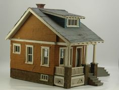 EARLY BUNGALOW DOLL HOUSE , cute, nice old color and good detail. .....Rick Maccione - Dollhouse Builder www.dollhousemansions.com