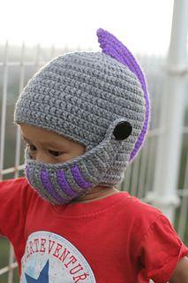 Ravelry: Knight Helmet Hat pattern by Delia Pop - women Life ideas Crochet For Boys, Crochet Baby Hats, Crochet Beanie, Crochet Clothes, Bonnet Crochet, Crochet Mask, Knit Crochet, Crochet Granny, Loom Knitting
