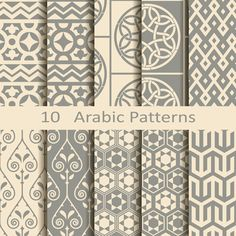 Set of ten Arabic patterns stock vector. Illustration of vector - 44496359 Geometric Patterns, Tile Patterns, Textures Patterns, Fabric Patterns, Color Patterns, Print Patterns, Fabric Design, Pattern Design, Design Design