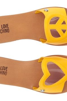 LOVE Moschino Heart/Peace Sandal (Yellow/Pink) Women's Sandals - LOVE Moschino, Heart/Peace Sandal, 171JA28011C03JC140A-766, Footwear Open Casual Sandal, Casual Sandal, Open Footwear, Footwear, Shoes, Gift, - Street Fashion And Style Ideas