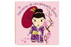 Cuadro Geisha impreso sobre madera de alta calidad sin marco y sin cristal. Medidas: 40 x 40 x 2,3 cm. Idiomas texto: castellano, catalán e inglés.