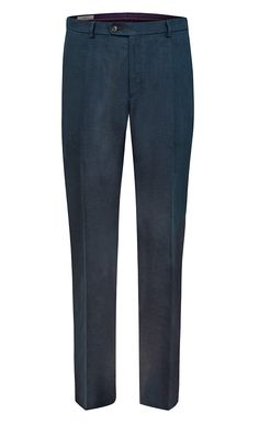 Benevento Menswear Brand presents 100% Linen Trousers in Classic Fit Dark Navy Linen Trousers made with inner waistband, inside button and hook closure, metal zipper, double back pockets with button closure, waistband with beltloops, slanted front pockets and creases on legs.
