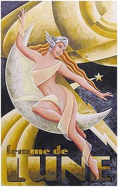 p/femme-de-lune - The world's most private search engine Art Deco Artwork, Art Deco Posters, Vintage Posters, Art Nouveau, Art Deco Illustration, Graphic Illustration, Pin Up, Sculpture Ornementale, Estilo Art Deco