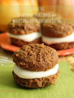 Gluten-Free Pumpkin Quinoa Cookies with White Chocolate Cream Cheese Filling. Yes, please! http://www.ivillage.com/quinoa-cakes-cookies-desserts/3-a-561441