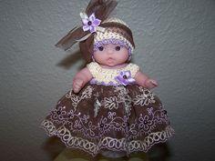 # 541 Brown/Lavender/Cream Lace dress