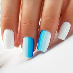 21 Ideas How to Do Cute Ombre Nails Vertical Gradient Pattern ❤️ Cute ombre nails designs are a dream of every fashionista. We have found some fresh designs for your next manicure. ❤️ See more: [post_link] Ombre Nail Designs, Nail Art Designs, Gradient Nails, Acrylic Nails, Vaseline, French Stiletto Nails, Hair And Nails, My Nails, Blue And White Nails
