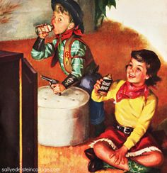 """Saddle up pardner!"" Vintage illustration boy and girl cowboys. 1950s"