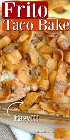 Easy Frito Taco Casserole baked in the oven. Made with ground beef, Frito corn chips, refried beans, cheese, and more! Such an easy family dinner. Taco Casserole, Casserole Dishes, Casserole Recipes, Taco Bake Recipes, Easy Taco Bake, Mexican Casserole, Chicken Casserole, Chicken Recipes, Frito Recipe