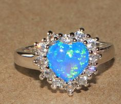 blue fire opal Cz ring gemstone silver jewelry Size 8.25 cocktail style Heart S2 #Cocktail