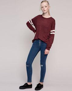 Pull&Bear - mujer - vaqueros - vaquero skinny con botones y rotos rodilla - azul - 09682331-I2015
