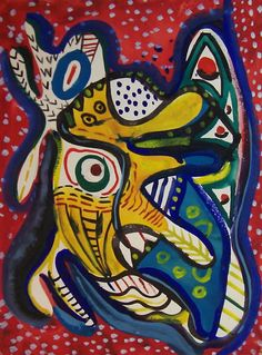 WILLIAM BAZIOTES  (1912-1963  (Creature on Red Background), 1936-39 Gouache, sheet size 12 x 9 inches With the stamp of The Estate of the Artist on the reverse.