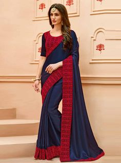 Order now navy blue modern style contrast embroidered saree velvet blouse. This art silk party wear sari & velvet blouse set consists half sleeves & scoop neck. Worked contrast border & contrast embroidery are accomplishing it for gathering. Buy Designer Sarees Online, Buy Sarees Online, Velvet Saree, Crepe Silk Sarees, Saree Trends, Saree Models, Indian Outfits, Indian Clothes, Party Wear Sarees