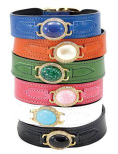 Hartman and Rose: Estate Collection  Leather Designer Dog Collars with faux Gemstones