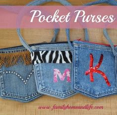 Denim Pocket Purses from jean pockets Diy Jeans, Jean Crafts, Denim Crafts, Jean Pocket Purse, Jeans Pocket, Blue Jean Purses, Pocket Craft, Denim Party, Denim Ideas