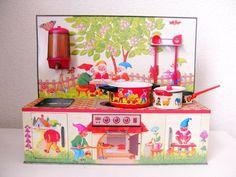 Vintage 1970s GNOMES tin metal toy kitchen by DesignforDelight