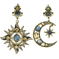 DIEGO PERCOSSI PAPI - NORTH STAR AND CRESCENT MOON EARRINGS