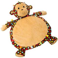 Mary Meyer Dazzle Dots Monkey Taggies Bestever Baby Mat Stuffed Animal Toy