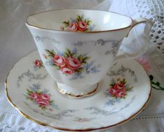 Royal Albert Tranquility Tea Cup and Saucer. Gorgeous Delicate Pink Roses, Floral Bone China Tea Set Duo.