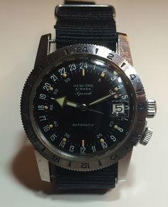 GLYCINE AIRMAN  1965 - Special Automatic, Mouvement A. Schild 1700/1701. Couronne quadrillée d'origine. Stop Seconde par fil de fer...
